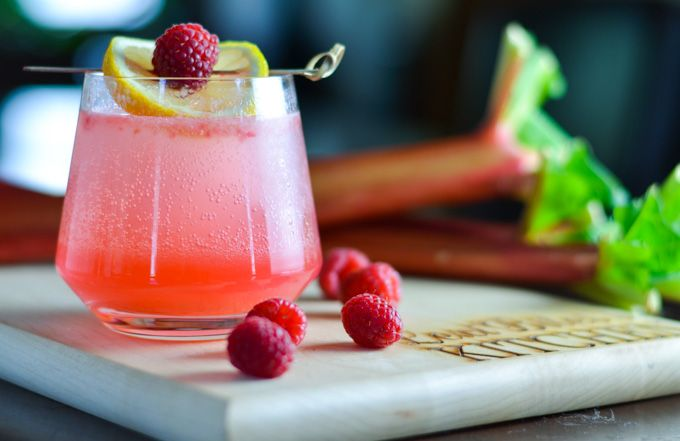 Sparkling Rhubarb and Raspberry Collins - Lexi Bites