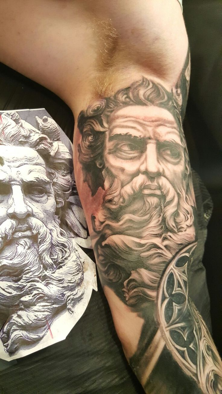 Poseidon Tattoo by @valentinpoptattoo