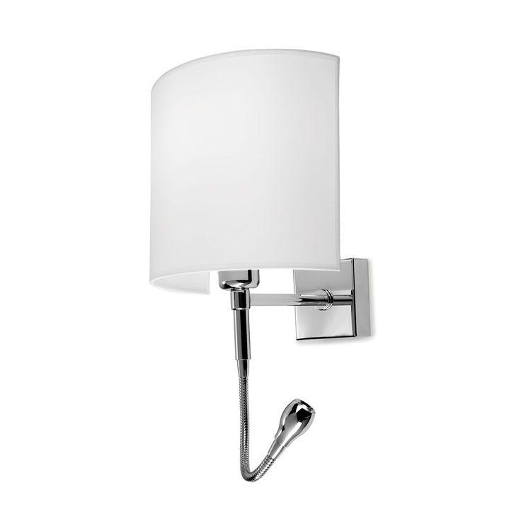 Lámpara aplique de pared con lector led modelo Serpentina. Es un aplique de pared ideal para el dormitorio de matriomonio.