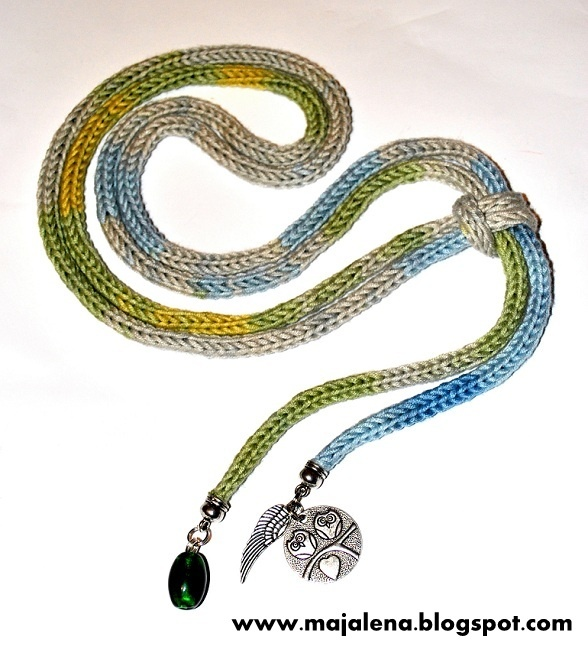 Tricotin necklace made by Majalena