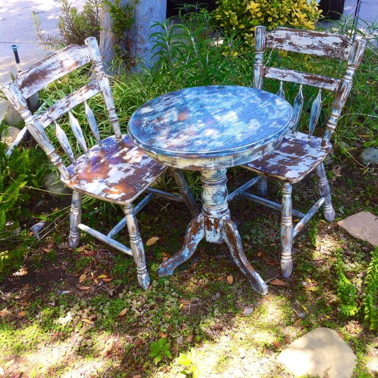 Shabby chic table & chair set, distressed, farmhouse, matching, upcycled, antique, set by ReincarnatedwithLove on Etsy https://www.etsy.com/listing/197075206/shabby-chic-table-chair-set-distressed