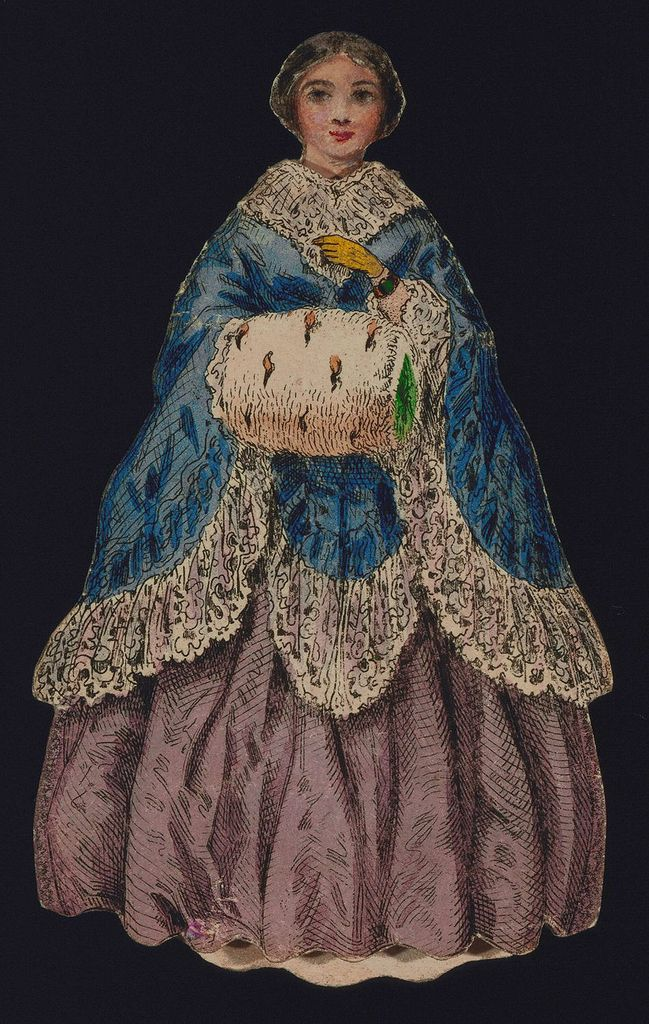 "Paper Doll Costume, ""Paper Doll Costume with Muff and Blue Cloak"", 1840–60http://collection.cooperhewitt.org/"