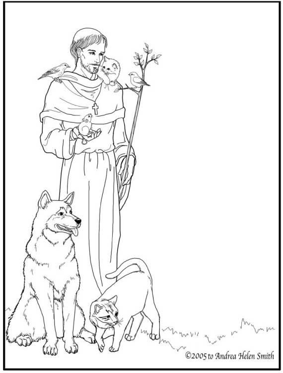 francis of assisi catholic coloring page printable for catholic kids feast day is october - Catholic Coloring Pages Printable