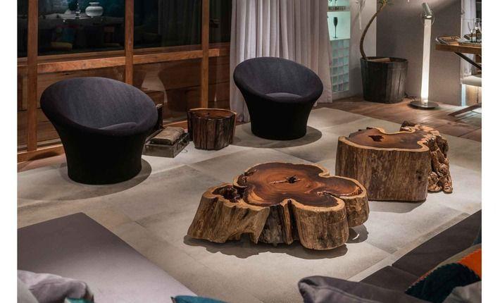 Centro de mesa tronco salon pinterest wood - Mesas de troncos de madera ...