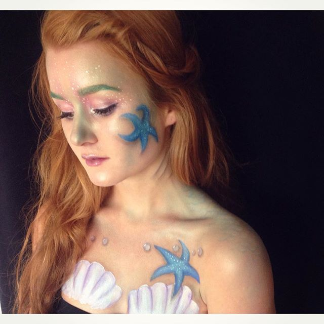 "I turned @tunback into a mermaid today! ""I was born with gills like a fish"" #pitchperfect #mermaid #makeup #shesellsseashellsbytheshore #makeup #smink #isadora #kryolan #barrym #facepaint #bodypaint #kicks #laroc"