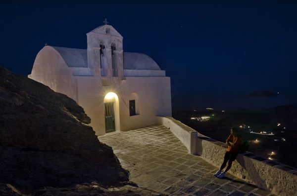 Church in the night, above Chora