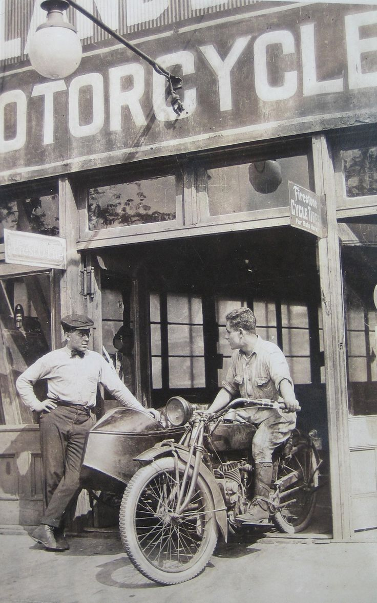 Vintage Indian motorcycle. Coming out of the shop, Bronx NY