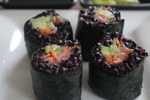 Sushi with Black Rice   processed sugar free and gluten free