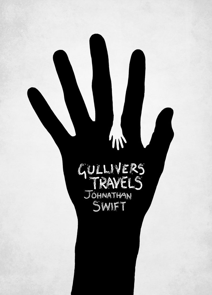 This book cover for Gulliver's travels is very interesting. It is a sweet composition exploring the shapes and revealing the complex emotions found in the story. The composition is very delicate but at the same time the high contrast shows the difference between the two characters.