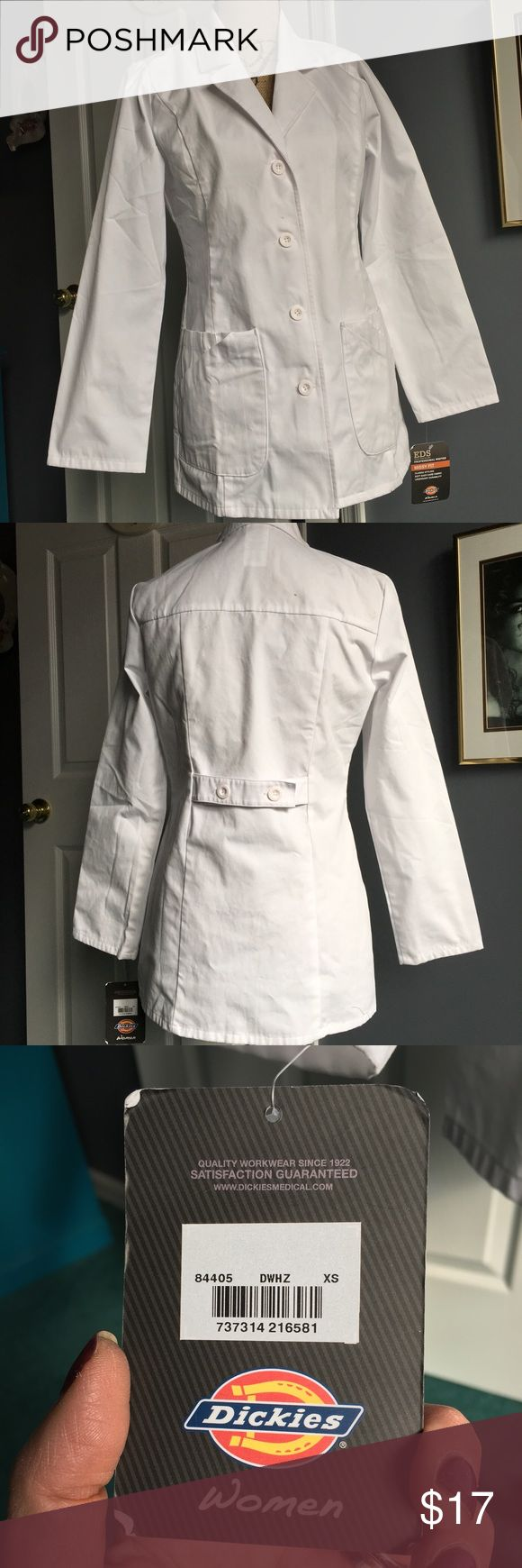 "Dickies Women's EDS 29"" White Lab Coat Style 84405 Dickies Women's White EDS 29"" Lab Coat Style 84405. New with tags. Never worn. Has some small stains as shown in pic 4. Size XS. Dickies Jackets & Coats Blazers"