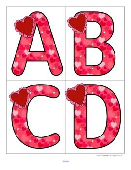FREE This is a set of large upper case letters with a Valentine's Day theme….