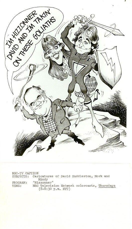 Mork and Mindy sketch by DAVID HUDDLESTON HIZZONER NBC TV PHOTO