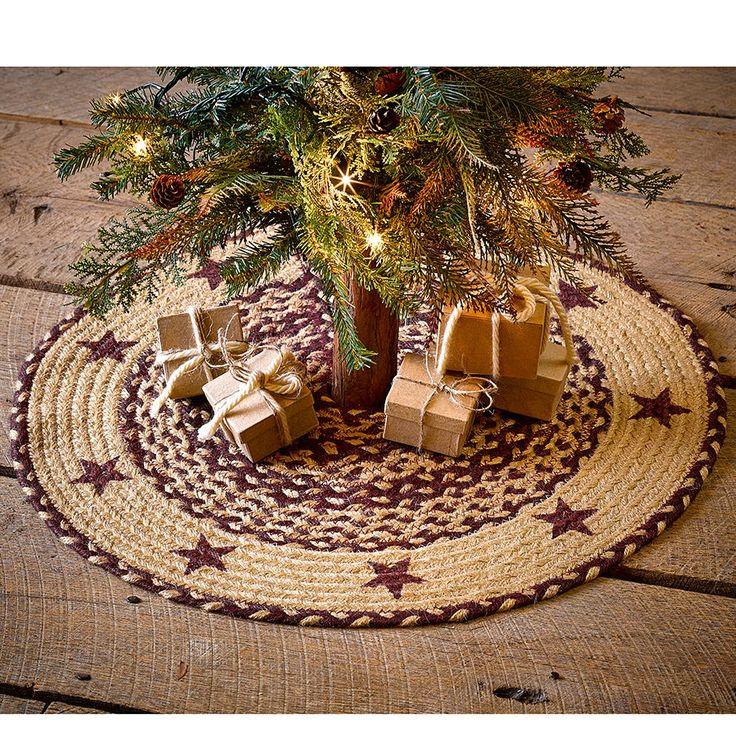 new country burgundy red tan braided jute star small christmas tree skirt 21 - Small Christmas Tree Skirts