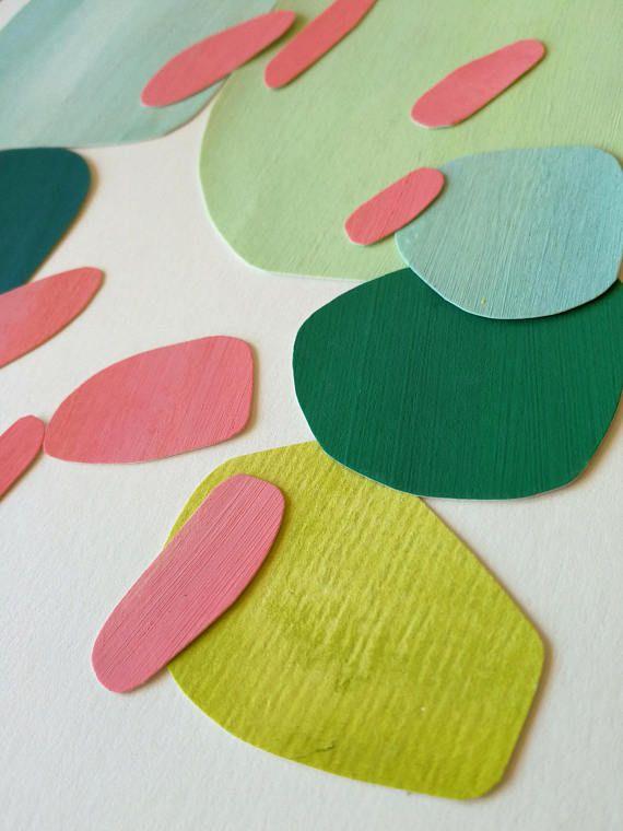 Serie Von Papier Collagen Im Rahmen Von Der Natur Inspiriert