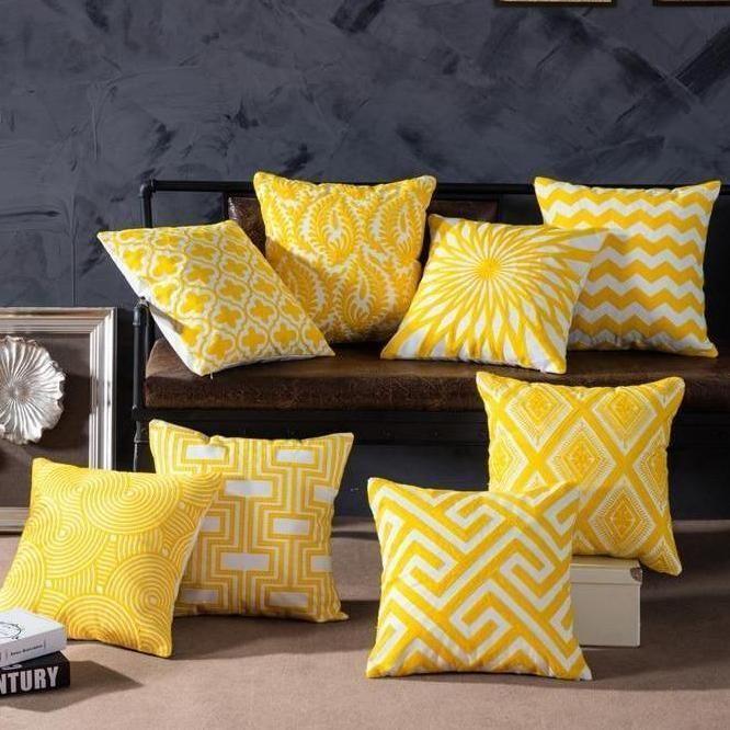yellow cushion covers cushions on sofa