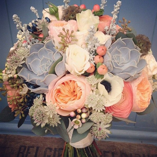 peach + grey with succulents - rustic chic wedding bouquet