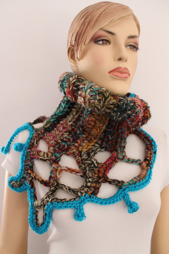 Colorful+Chunky+Crochet+Cowl+Scarf+Capelet+Neck+by+levintovich,+$59.00