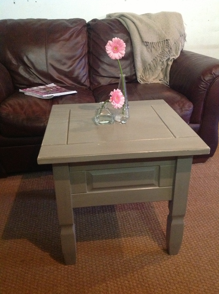 Corona Pine Side Table. Painted In French Grey ASCP With Clear Wax.  Shabitatt 2012