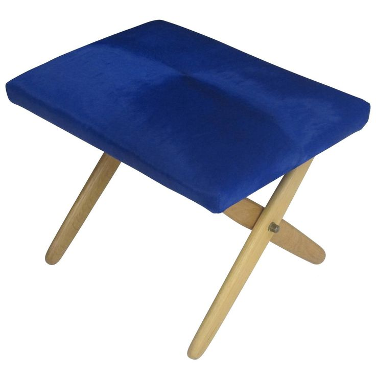 Mid-Century Danish Oak Ottoman in Blue Calf Hide   From a unique collection of antique and modern ottomans and poufs at https://www.1stdibs.com/furniture/seating/ottomans-poufs/