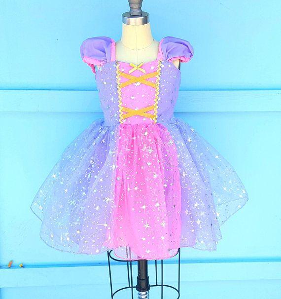 Vestido de RAPUNZEL traje RAPUNZEL de las muchachas vestido