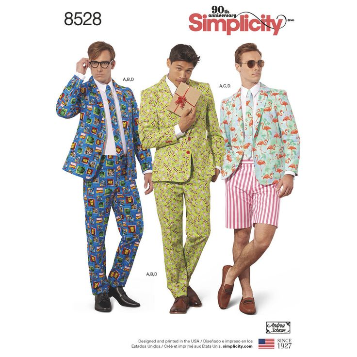 Be crazy-creative with this Crazy Suit costume pattern for Men from designer Andrea Schewe! Pattern features a two-button jacket with large front pockets, suit pants, shorts, and tie. Sew with solid fabric for a not-so-crazy look, or take a walk on the wild side with fun prints and stripes!