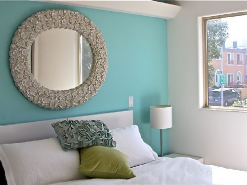 Light blue feature wall paint inspiration pinterest for Bedroom feature wall paint ideas