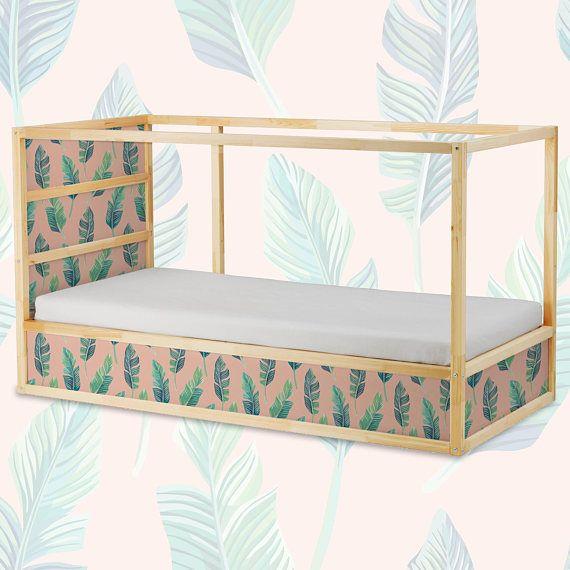 Decals voor Kura Bed Ikea groene bladeren op de perzik