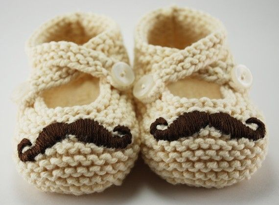 Mr. Mustache Baby Booties You Choose The by pleasantlyplumpknits