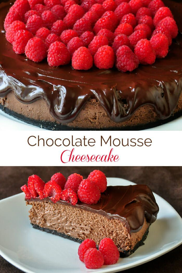 Chocolate Mousse Cheesecake. This luscious chocolate mousse cheesecake is baked in a water bath, keeping it light, creamy and melt-in-your mouth delectable. #mothersday #fathersday #dessert #cheesecake #chocolate