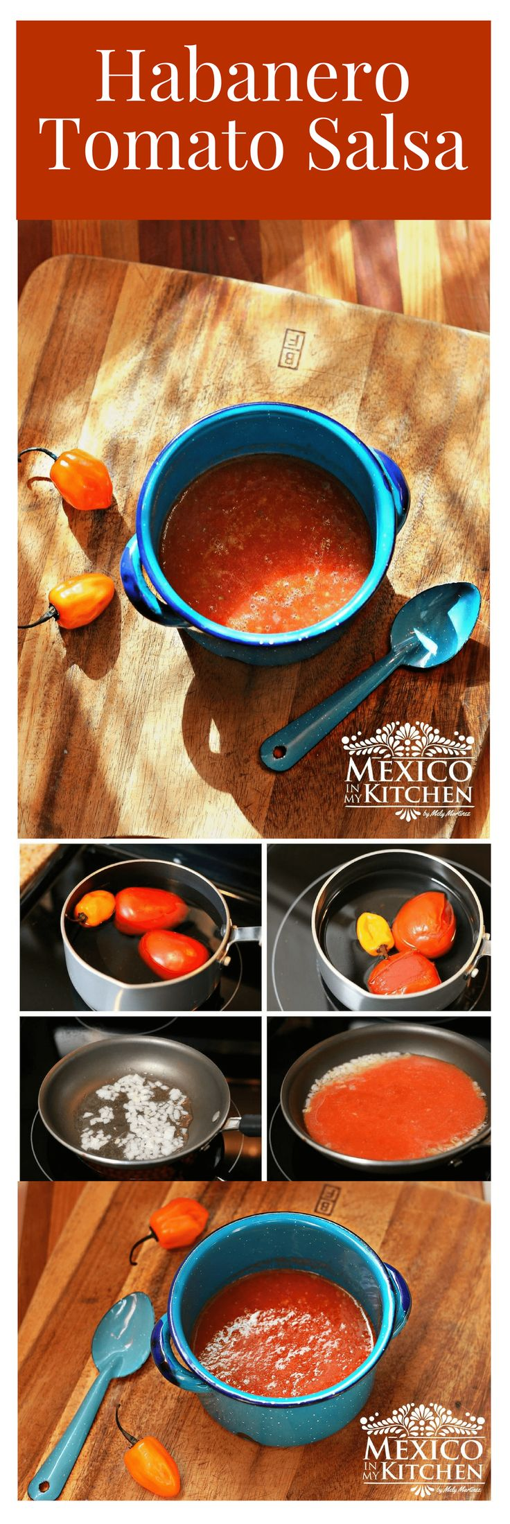 Although Habanero peppers rate high on the Scoville, you can still enjoy their flavor by making a mellower salsa using tomatoes, like in this Habanero Tomato Salsa. #mexicanrecipes #mexicanfood #mexicancuisine #salsas #homecook