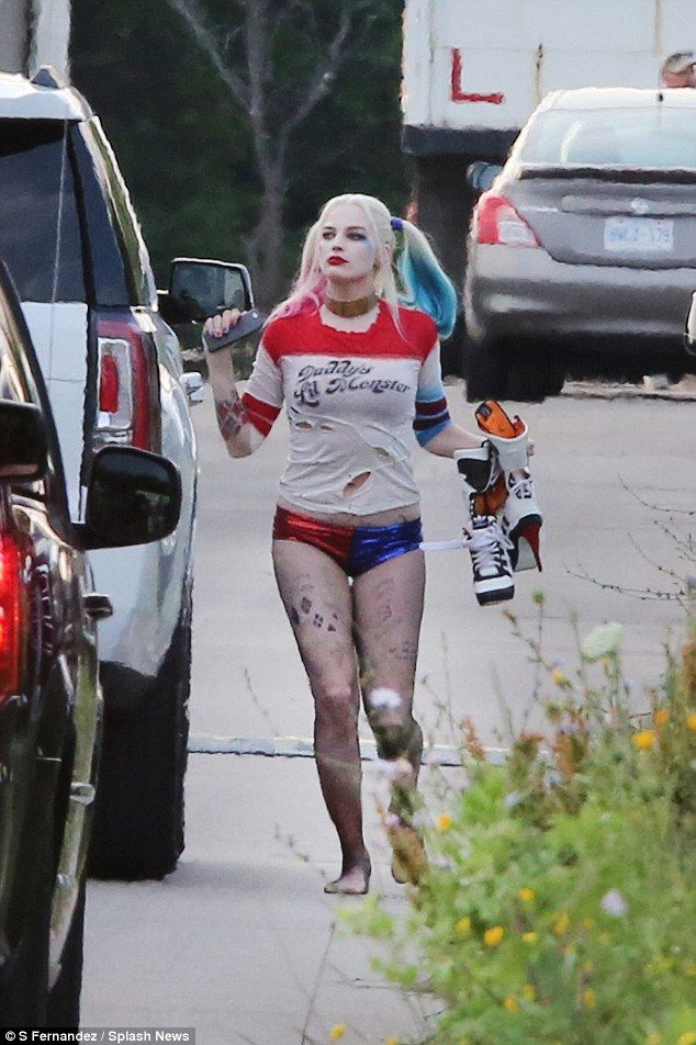 Margot Robbie flashes pert derriere as Harley Quinn in Suicide Squad #dailymail