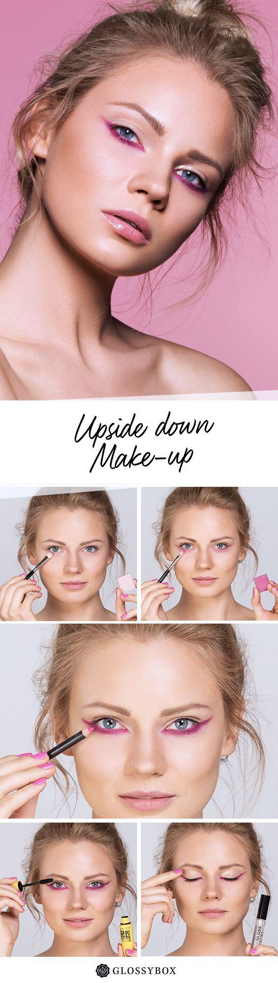 Pink, Upside Down, Make-up, Tutorial