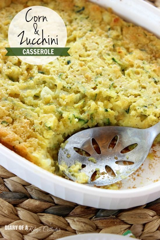 Corn & Zucchini Casserole - An easy cornbread casserole filled with corn and fresh zucchini makes a perfect side dish!  - Diary of a Recipe Collector
