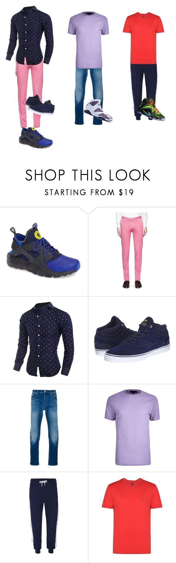 """blue denim red"" by briicreativity on Polyvore featuring NIKE, Isaia, Emerica, STONE ISLAND, River Island, Topman, Armani Jeans, men's fashion and menswear"
