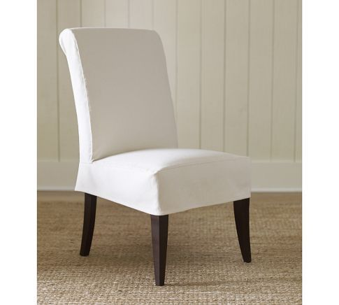 Short Upholstered Dining Chairs Skirted White Fabric Slipcover