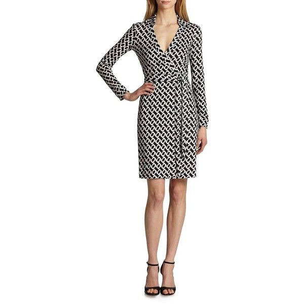 Diane von Furstenberg New Jeanne Two Wrap Dress ($398) ❤ liked on Polyvore featuring dresses, apparel & accessories, chain link, white long sleeve dress, long sleeve wrap dress, wrap front dress, long sleeve dresses and diane von furstenberg