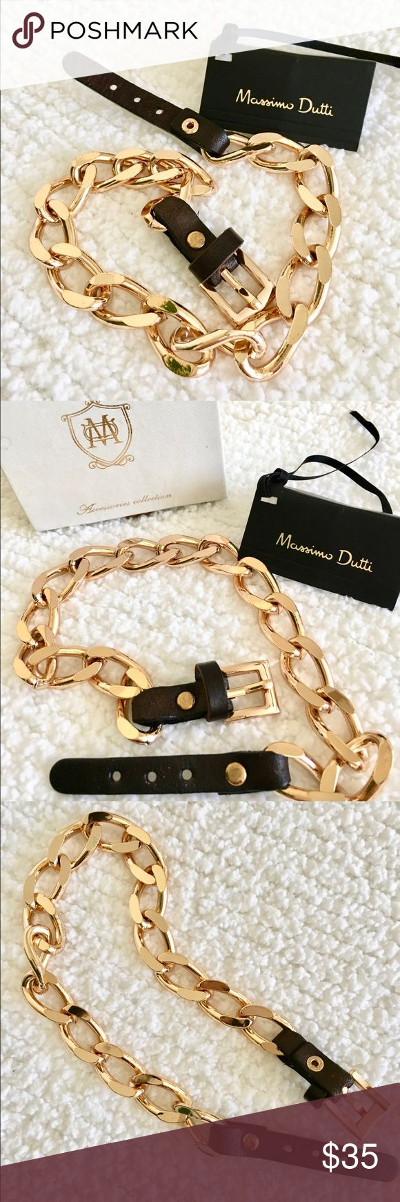 Stainless steel chain & leather belt bracelet Massimo Dutti stainless steel chain and leather belt bracelet. Brand new with tag. Approximate 37.5 cm. Massimo Dutti Jewelry Bracelets