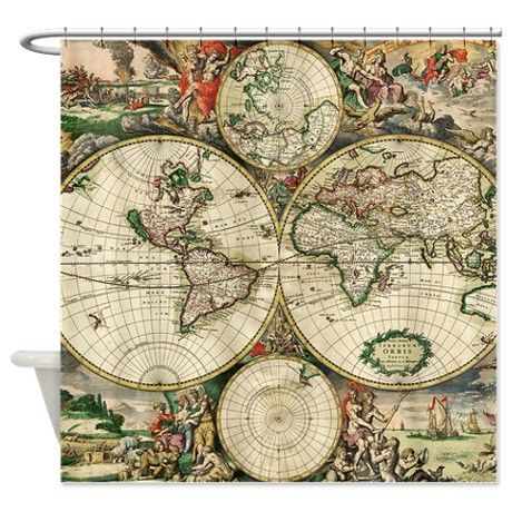 379 best craftsman shower curtains other cool ones images on vintage map shower curtain sciox Gallery