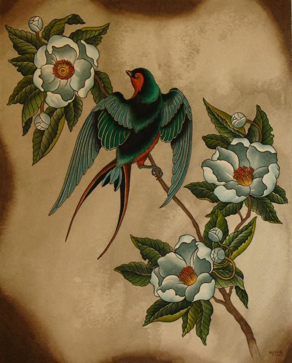 Swallow and magnolias (I think?)