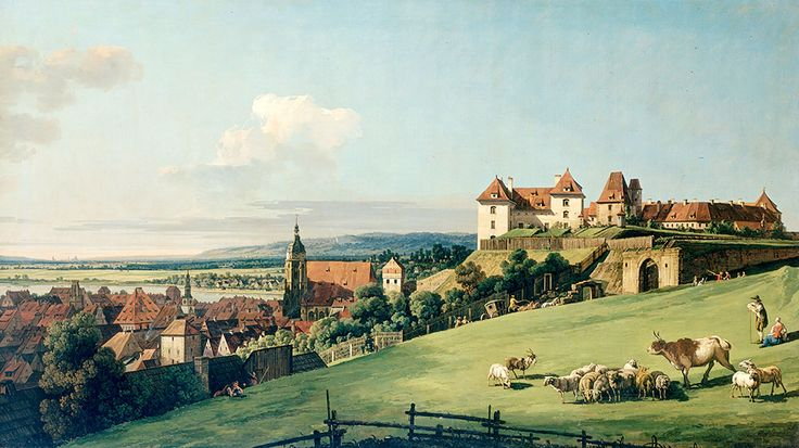 """Bellotto Bernardo - View Of Pirna From Sonnenstein Castle c1750 Hermitage  (from <a href=""""http://www.oldpainters.org/picture.php?/45946/category/15206""""></a>)"""