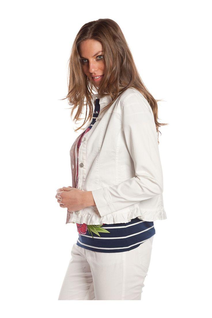Jacket con bolsillos. - MUJER   Rosalita McGee #whiteforsummer #whitestyle #whitejacket #chaquetablanca  #blancototal #rosalitamcgee #chaquetasardina