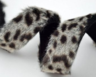 25mm Leopard Faux Fur trim band with Micro suede back, 1 yard, YD-FF-65