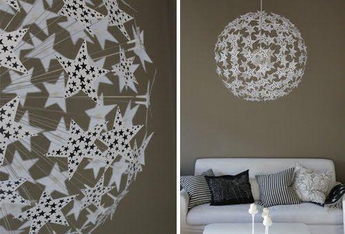 luminaire ikea où des étoiles ont été ajoutées (Ikea Hacker)