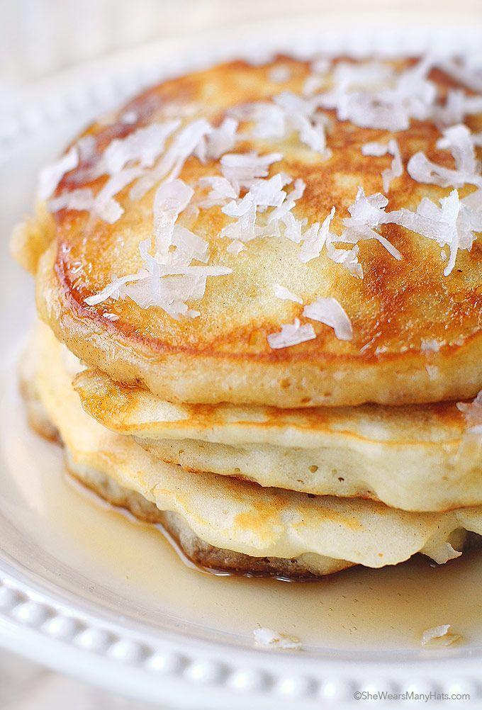 Coconut Pancakes Recipe shewearsmanyhats.com