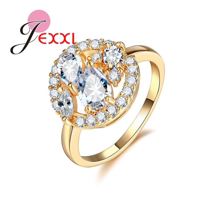 p white wholesale trendy plated rose for rings rhinestone engagement round gold ring m women