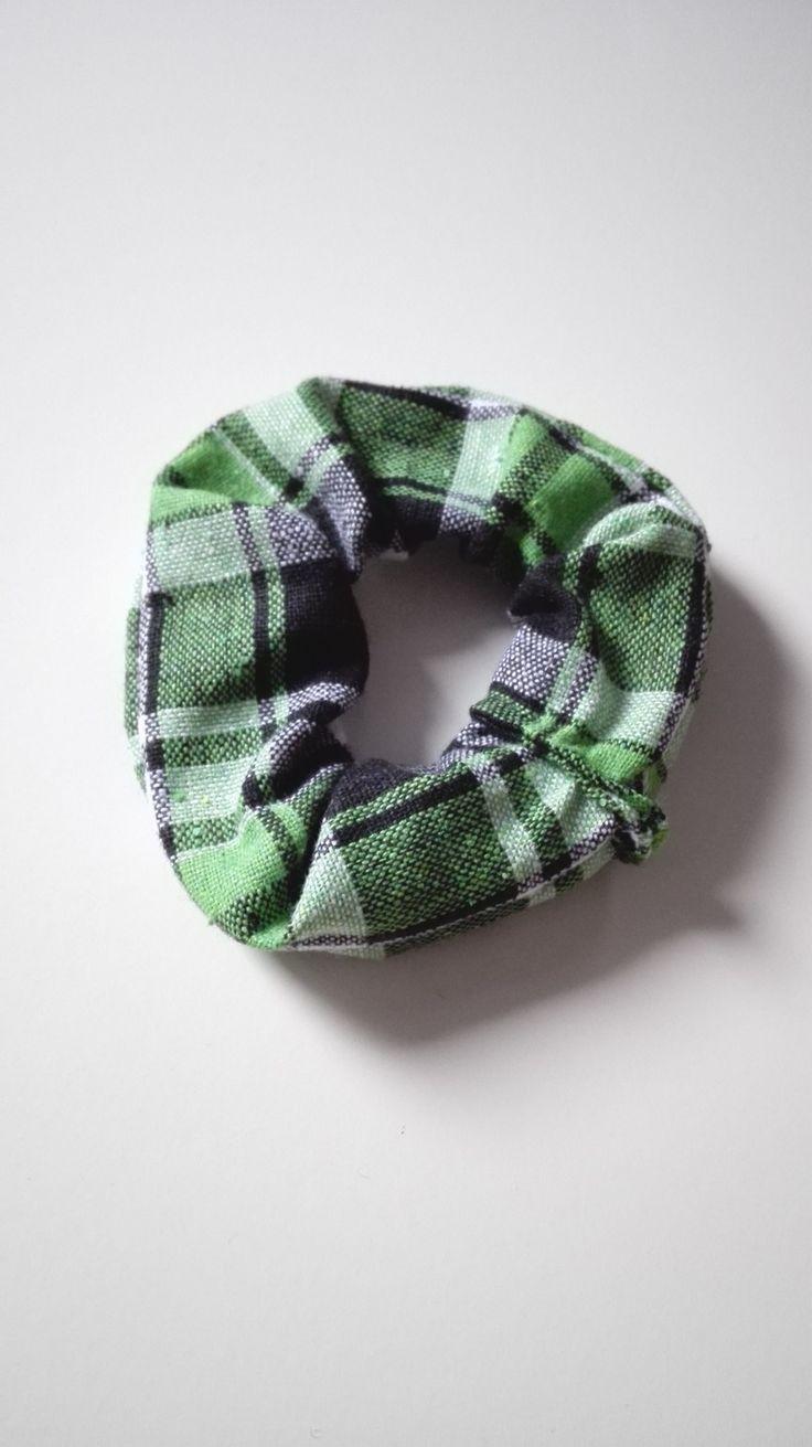 Chouchou Outlander Ecosse tissu écossais élastique cheveux vert féérique : Accessoires coiffure par miss-perles