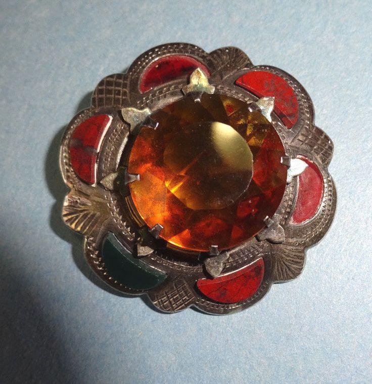 Antique Hallmarked Silver Circular Agate & Citrine  Brooch/Pin Made In Britain