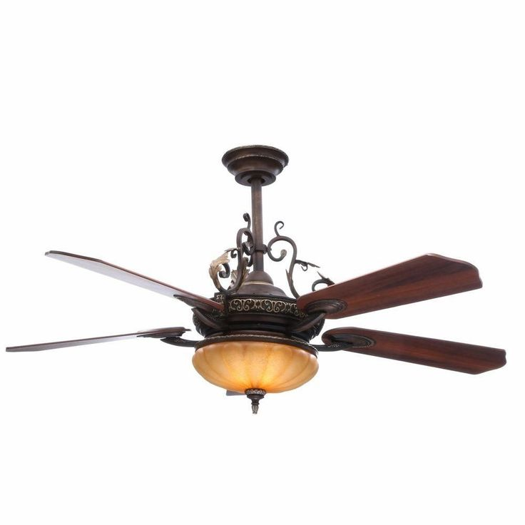 Hampton bay chateau 52 in de ville walnut remote indoor ceiling fan w light kit