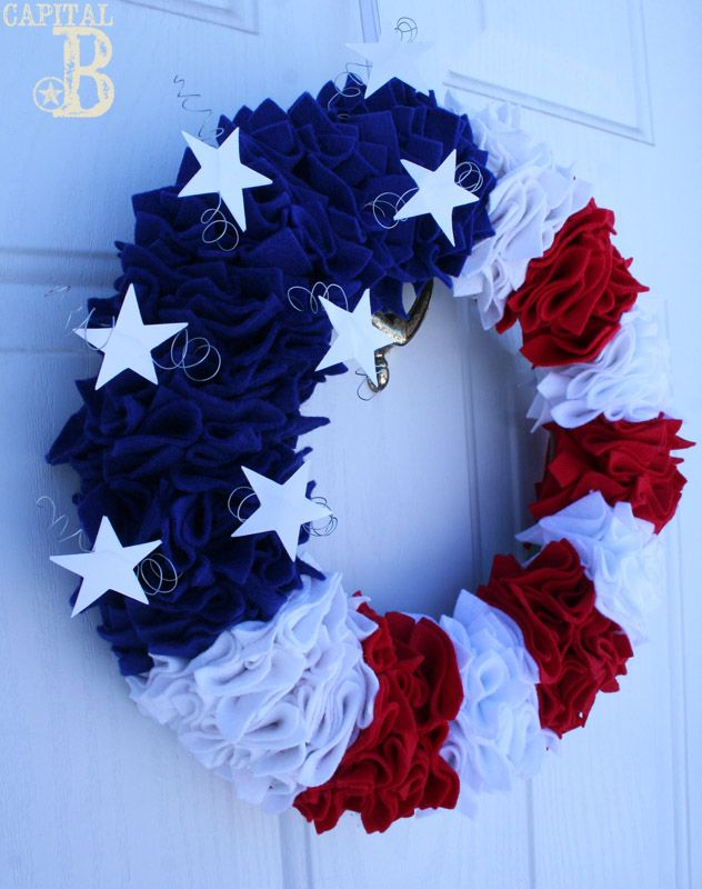 July 4 wreathIdeas, Blue Doors, July Wreaths, Fourth Of July, Red White Blue, Patriots Wreaths, Front Doors, 4Th Of July, Crafts
