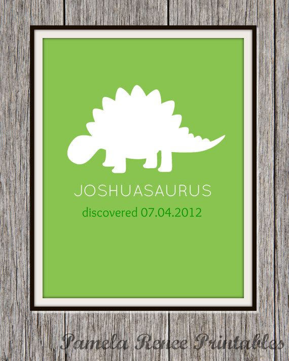 Personalized Printable Dinosaur Silhouette Wall Art/ You Choose Color(s)/ 8x10 on Etsy, $5.00